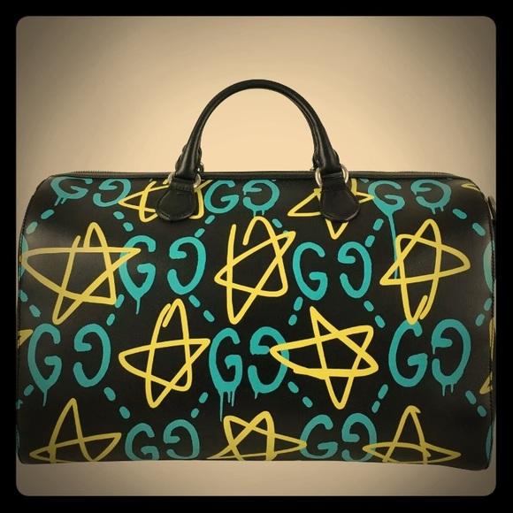 dde538cf4bf9bc Gucci Bags | Ghost Graffiti Duffle Travel Bag | Poshmark